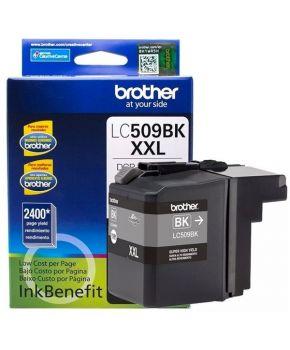 Cartucho de Tinta Brother LC509BK Negro Original de Alto rendimiento para 2,400 páginas.
