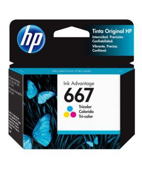 Cartucho de Tinta HP 667 (3YM78AL) Tricolor Original para 100 páginas.