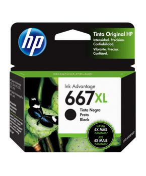 Cartucho de Tinta HP 667XL (3YM81AL) Negro Original de Alto rendimiento para 480 páginas.