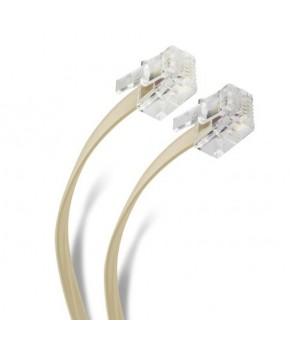 Cable telefónico con 2 conectores macho (plug) RJ11, de 4 hilos, para extensión. Mide 15 m y es de color marfil.