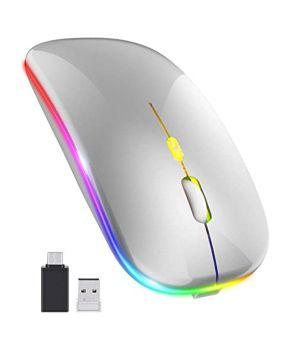 Mouse Inalámbrico Recargable Delgado RGB 1600 dpi Plata marca Nextep