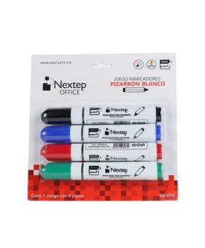 Marcador para Pizarrón Blanco con Punta Gruesa Paq. 4 colores marca Nextep