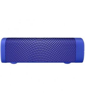 Bocina Bluetooth mini tipo Soundbar con acabado de textil azul marca Steren