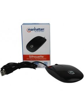 Mouse Alámbrico USB delgado negro marca Manhattan