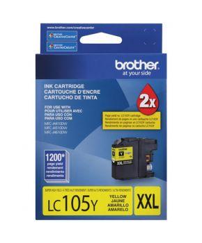 Cartucho de Tinta Brother LC105Y Amarillo Original de Alto rendimiento para 1,200 páginas.