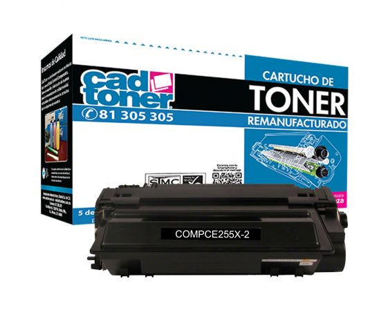 Cartucho de Toner HP CE255X Negro Remanufacturado marca Cad Toner de Alto rendimiento sin intercambio para 12,500 impresiones.