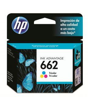 Cartucho de Tinta Original HP 662 Tricolor para 120 Impresiones.