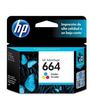 Cartucho de Tinta HP 664 (F6V28AL) Tricolor Original para 100 páginas.
