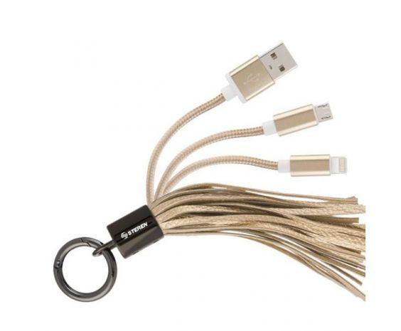 Cable 2 en 1 USB a Micro USB y Lightning tipo llavero marca Steren