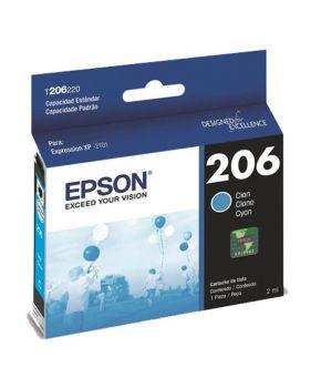 Cartucho de Tinta Epson 206 (T206220-AL) Cyan Original para 200 páginas.